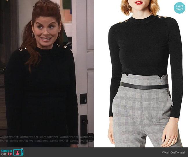Hardware Detail Sweater by Karen Millen worn by Grace Adler (Debra Messing) on Will & Grace