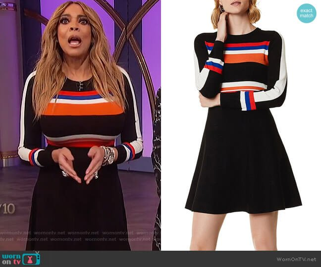 Striped Fit-and-Flare Dress by Karen Millen worn by Wendy Williams (Wendy Williams) on The Wendy Williams Show