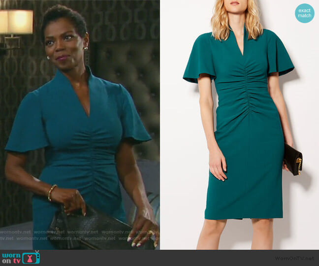 V-Neck Pencil Dress by Karen Millen worn by Valerie Grant (Vanessa Williams) on Days of our Lives