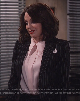 Karen's black pinstripe blazer and pants on Will and Grace