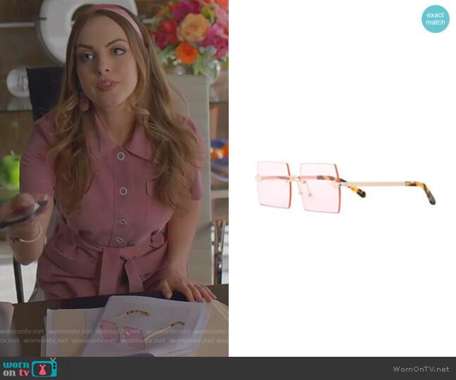 The Bird Sunglasses by Karen Walker worn by Fallon Carrington (Elizabeth Gillies) on Dynasty