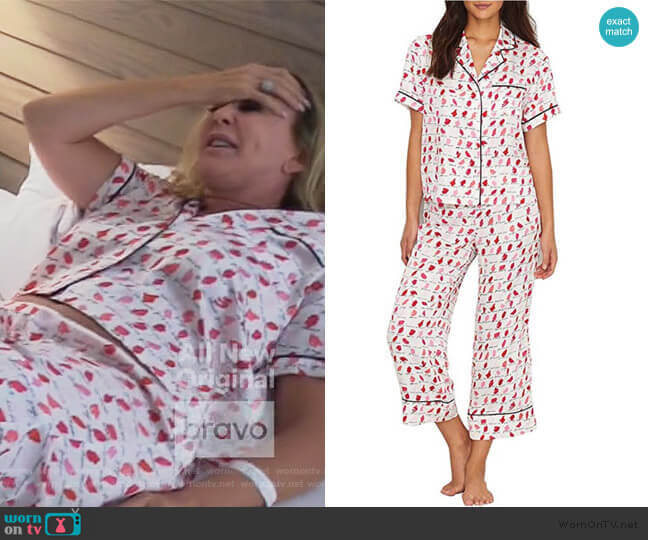 New York Lipsticks Charmeuse Cropped PJ Set by Kate Spade worn by Vicki Gunvalson  on The Real Housewives of Orange County