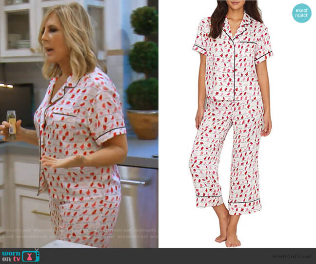 New York Lipsticks Charmeuse Cropped PJ Set by Kate Spade worn by Vicki Gunvalson (Vicki Gunvalson) on The Real Housewives of Orange County