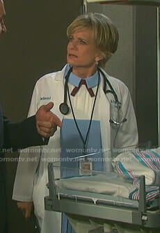 Kayla's blue and white pleated dress on Days of our Lives