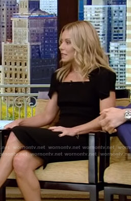 Kelly's black cap sleeve dress on Live with Kelly and Ryan