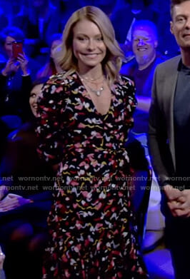 Kelly's black printed wrap dress on Live with Kelly and Ryan