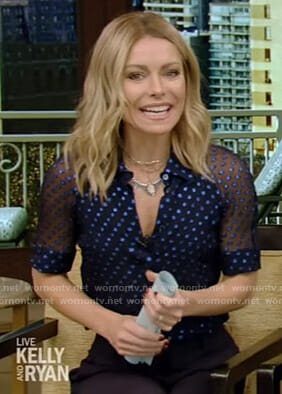 Kelly's polka dot chiffon top on Live with Kelly and Ryan