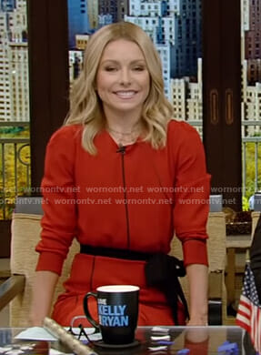 Kelly's red tie waist dress on Live with Kelly and Ryan