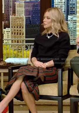Kelly's striped ruffled skirt on Live with Kelly and Ryan