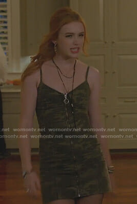 Kirby's camo zip front mini dress on Dynasty