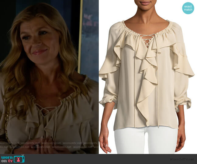 Debra's ruffled top on Dirty John