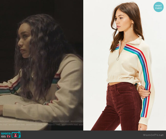 Rainbow Half Zip Cropped Sweatshirt by LA Hearts worn by Clarice Fong (Jamie Chung) on The Gifted