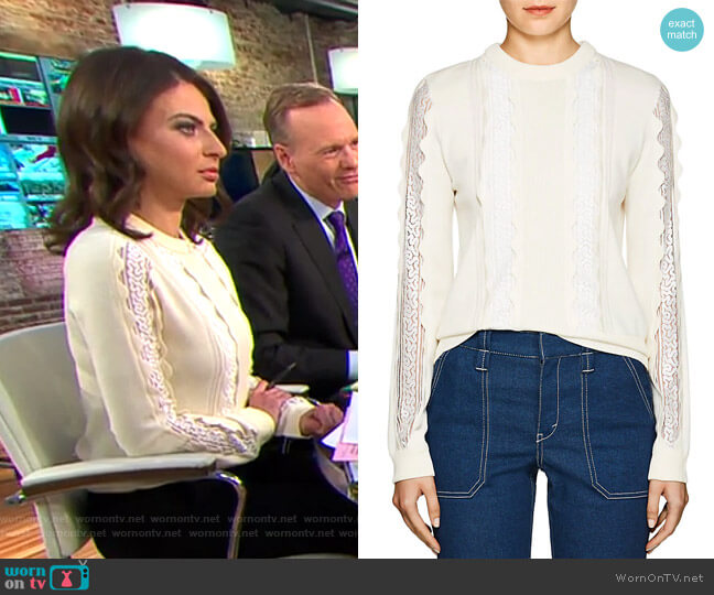 Lace Inset Sweater by Chloe worn by Bianna Golodryga  on CBS This Morning