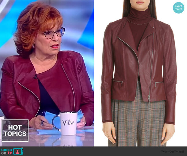 Trista Zip-Front Weathered Lambskin Leather Jacket by Lafayette 148 New York worn by Joy Behar  on The View