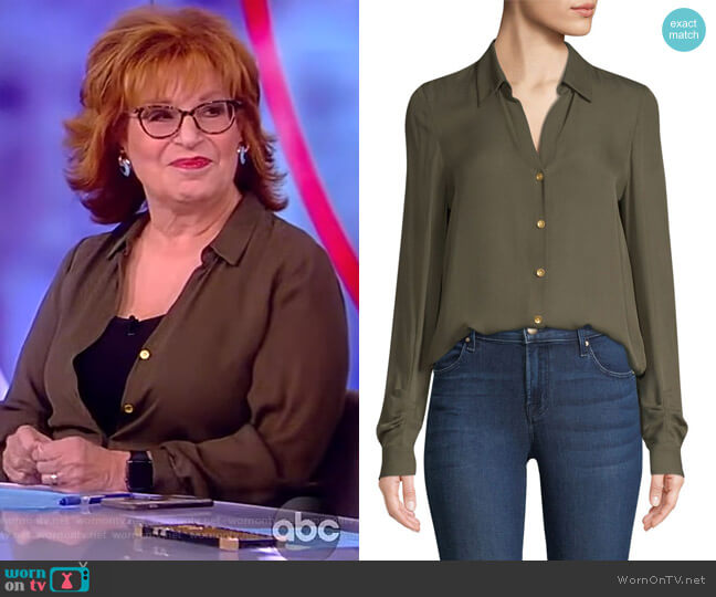 Fiona Silk Shirred Sleeve Blouse by L'Agence worn by Joy Behar  on The View
