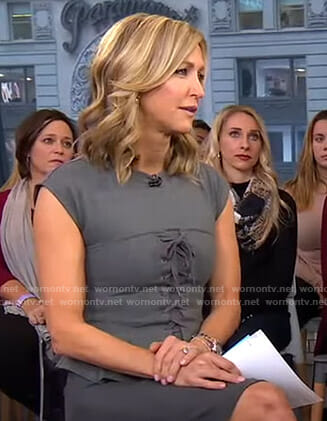 Lara's grey lace-up peplum top on Good Morning America