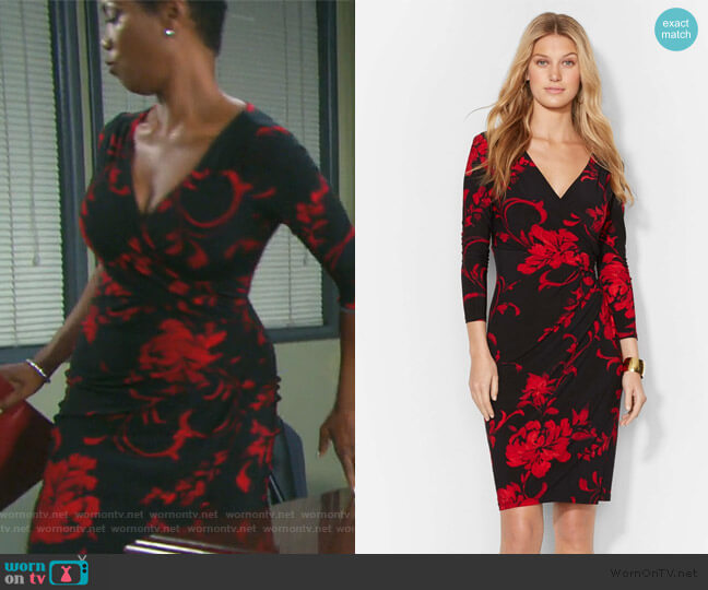Floral Print Faux Wrap Jersey Dress by Ralph Lauren worn by Valerie Grant (Vanessa Williams) on Days of our Lives