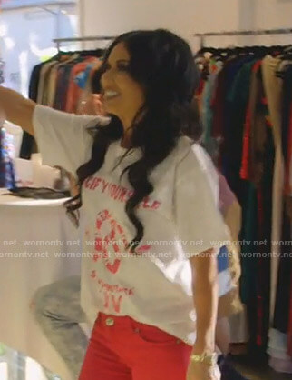 LeeAnne's white snake print tee on The Real Housewives of Dallas