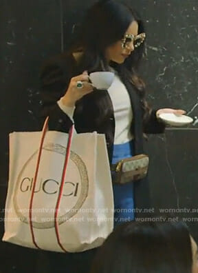 LeeAnn's Gucci belt bag and logo tote bag on The Real Housewives of Dallas
