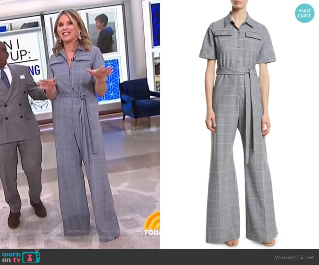 Checked Cady Jumpsuit by Lela Rose worn by Jenna Bush Hager  on Today