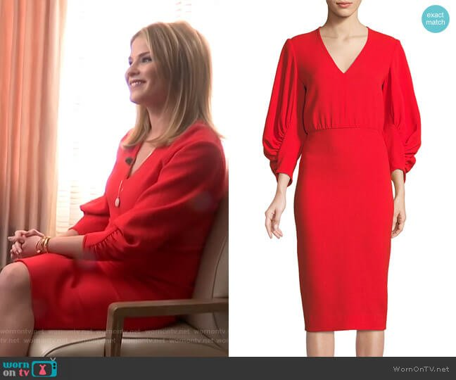 Wool Blend Crepe Full Sleeve Dress by Lela Rose worn by Jenna Bush Hager  on Today