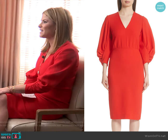 Jenna's red gathered sleeve dress on Today
