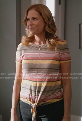 Lena's striped tie front tee on Splitting Up Together