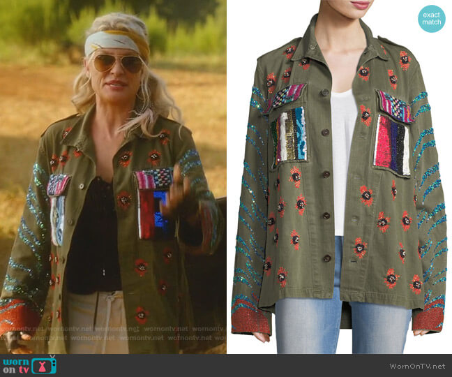 Love Embellished Army Jacket by Libertine worn by Alexis Carrington (Elaine Hendrix) on Dynasty
