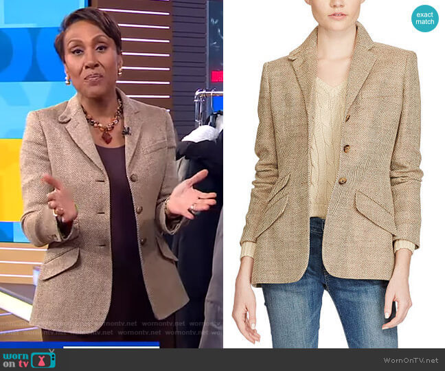 Linen Herringbone Blazer by Polo Ralph Lauren worn by Robin Roberts  on Good Morning America