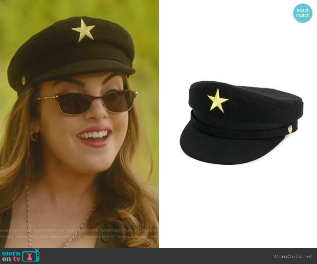 Star Military Hat by Manokhi worn by Elizabeth Gillies on Dynasty