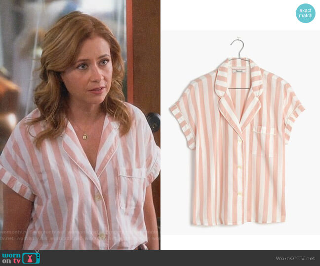 Oxford Bedtime Pajama Top by Madewell worn by Lena (Jenna Fischer) on Splitting Up Together