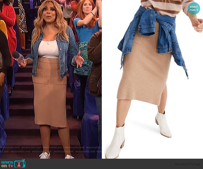 Patch Pocket Sweater Skirt by Madewell worn by Wendy Williams  on The Wendy Williams Show