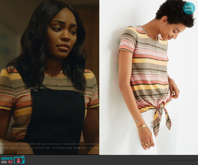 Texture & Thread Modern Tie-Front Top by Madewell worn by Jennifer Pierce (China Anne McClain) on Black Lightning