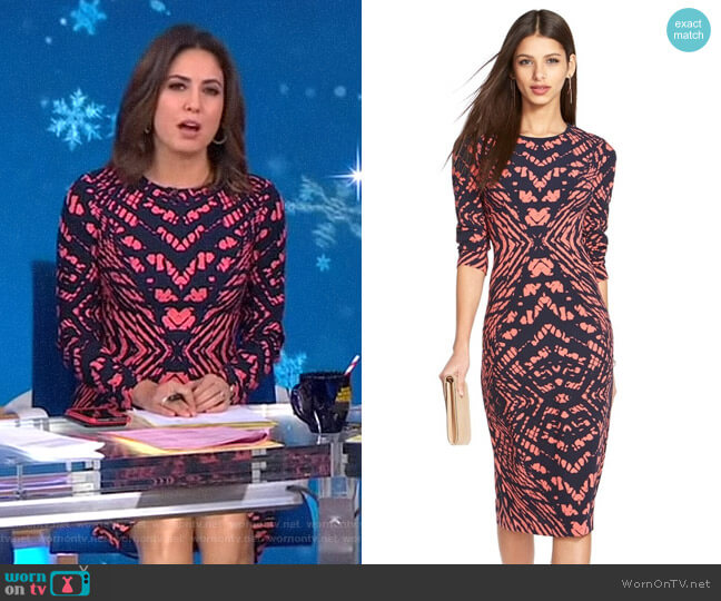Tie Dye Print Crepe Midi Sheath Dress by Maggy London worn by Cecilia Vega  on Good Morning America