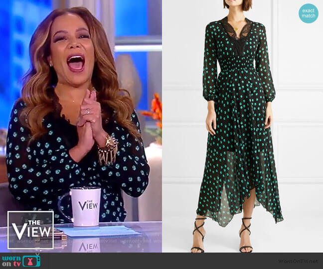 Asymmetric lace-trimmed printed chiffon dress by Maje worn by Sunny Hostin (Sunny Hostin) on The View