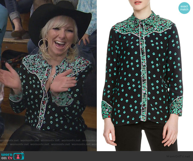 Imani Pipe Trim Blouse by Maje worn by Margaret Josephs (Margaret Josephs) on The Real Housewives of New Jersey