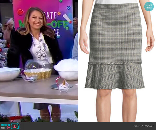 Check Pattern Knit Flounce Skirt by Max Studio worn by Ginger Zee (Ginger Zee) on Good Morning America