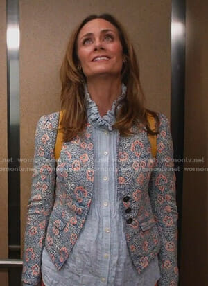 Maya's blue ruffled collar blouse and floral blazer on Splitting Up Together