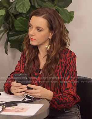 Melanie's red leopard print wrap top on E! News
