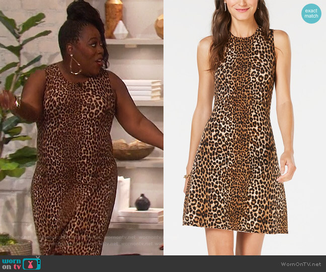 Leopard-Print Sweater Dress by Michael Michael Kors worn by Sheryl Underwood (Sheryl Underwood) on The Talk