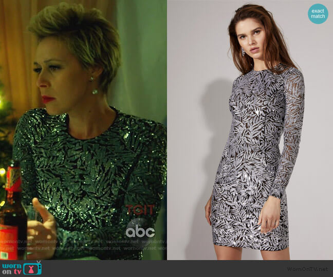 Palmetto Paillette Sheath Dress by Michael Kors worn by Liza Weil on HTGAWM