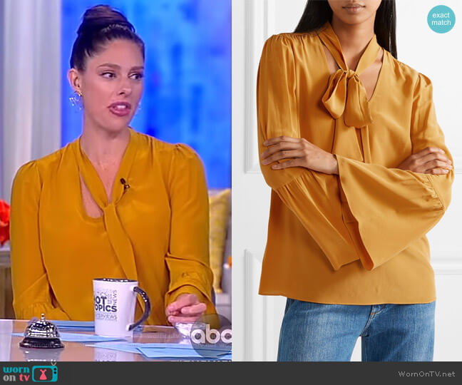 Pussy-bow silk crepe de chine blouse by Michael Michael Kors worn by Abby Huntsman on The View