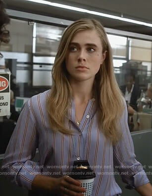 Michaela's blue stirped shirt on Manifest