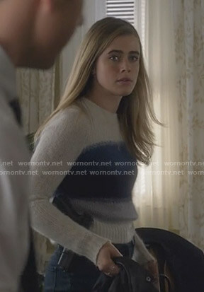 Michaela's white and blue colorblock sweater on Manifest