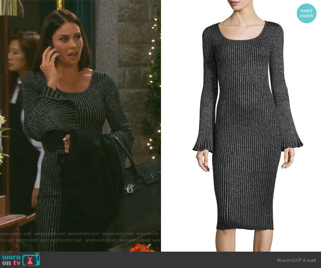 Flare-Sleeve Ribbed Metallic Sweater Dress by Milly worn by Chloe Lane (Nadia Bjorlin) on Days of our Lives