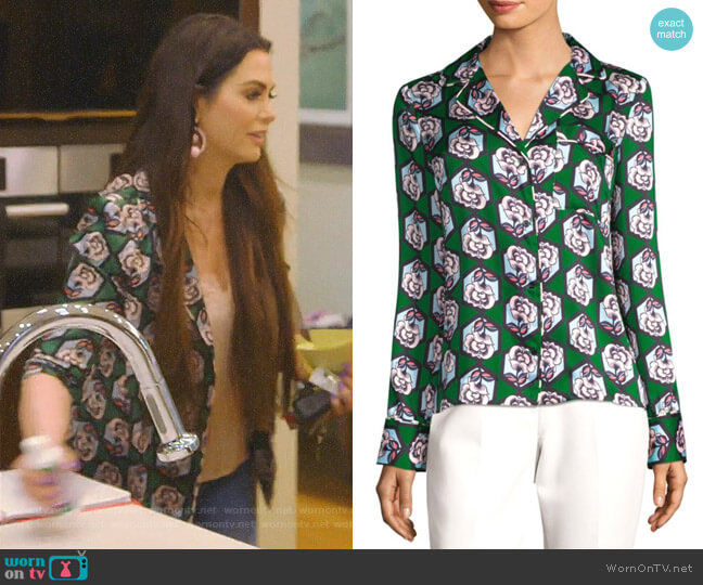 Floral-Print Blouse by Milly worn by D'Andra Simmons  on The Real Housewives of Dallas
