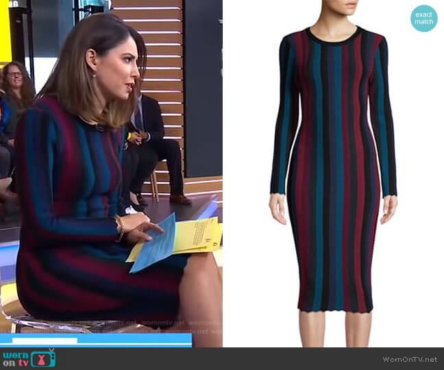 Stripe Bodycon Dress by Milly worn by Cecilia Vega on Good Morning America