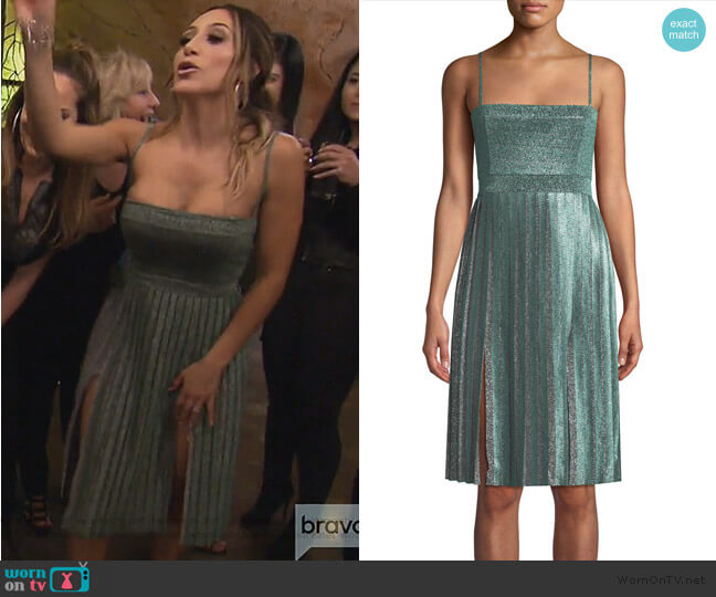 Janelle Double-Slit Metallic Dress by Misha worn by Melissa Gorga on The Real Housewives of New Jersey