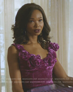 Monica's purple velvet sleeveless top on Dynasty