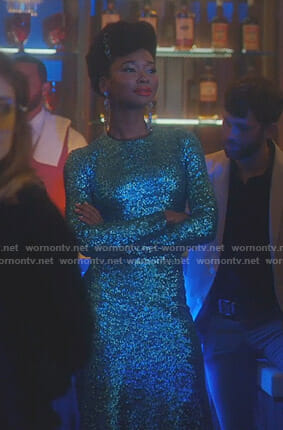 Monica's sequin long sleeve dress on Dynasty